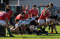 Action from the Swindale Sheild premier rugby match between Old Boys University and Marist St Pats at Evan's Bay Park in Wellington, New Zealand on Saturday, 21 April 2018. Photo: Dave Lintott / lintottphoto.co.nz