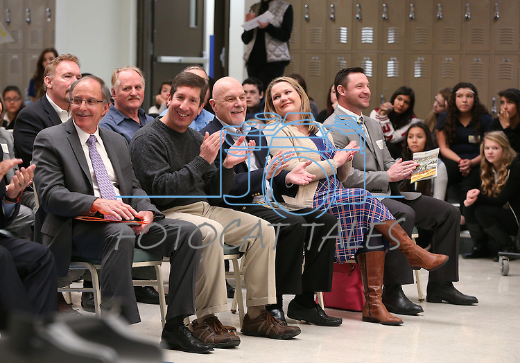 The crowd listens to a ceremony launching the Carson City School District Foundation at Carson High School, in Carson City, Nev., on Wednesday, Feb. 18, 2015. <br /> Photo by Cathleen Allison