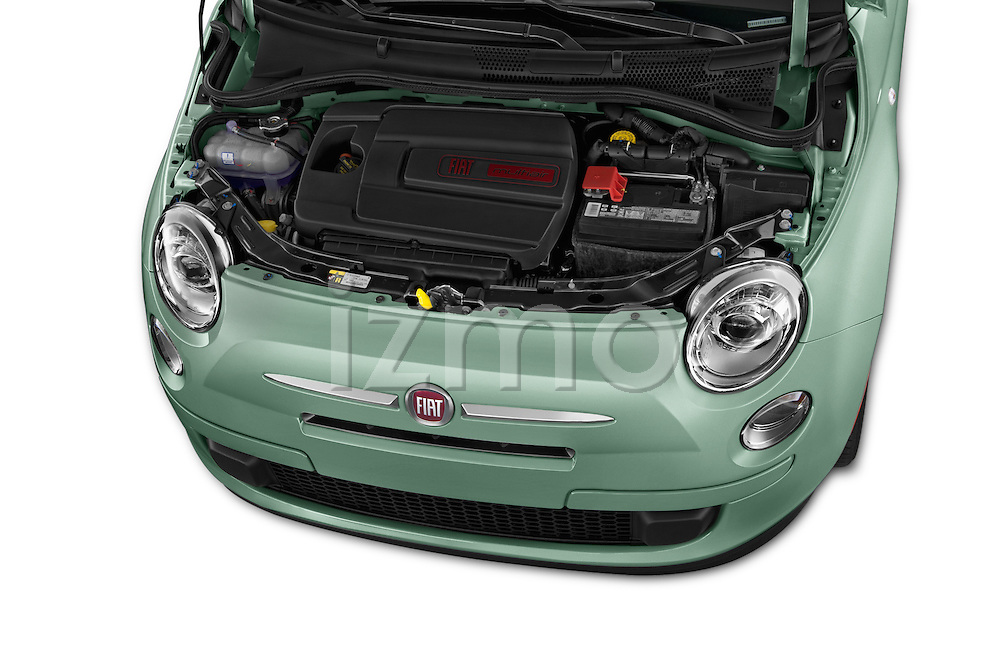 Car Stock 2016 Fiat 500 Pop 3 Door Hatchback Engine  high angle detail view