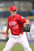 Reading Phillies pitcher Trevor May #55 during practice before a game against the New Hampshire Fisher Cats at FirstEnergy Stadium on April 10, 2012 in Reading, Pennsylvania.  New Hampshire defeated Reading 3-2.  (Mike Janes/Four Seam Images)
