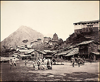 BNPS.co.uk (01202 558833)<br /> Pic: DominicWinter/BNPS<br /> <br /> Temples and Bazaar in Chamba, northern India.<br /> <br /> Fascinating 150 year-old photographs of India taken in the aftermath of the failed mutiny have sold for almost &pound;8,000 at auction.<br /> <br /> The images, which date from 1863 to 1870, capture native soldiers with their weapons and picturesque landscapes and were taken by celebrated 19th century photographer Samuel Bourne.<br /> <br /> They went for a hammer price of &pound;6,400 to a private collector from America who bid online with extra fees pushing the overall price above &pound;7,800.<br /> <br /> Together with Charles Shepherd, Bourne set up photo studio Bourne &amp; Shepherd first in Simla in 1863 and later in Calcutta.