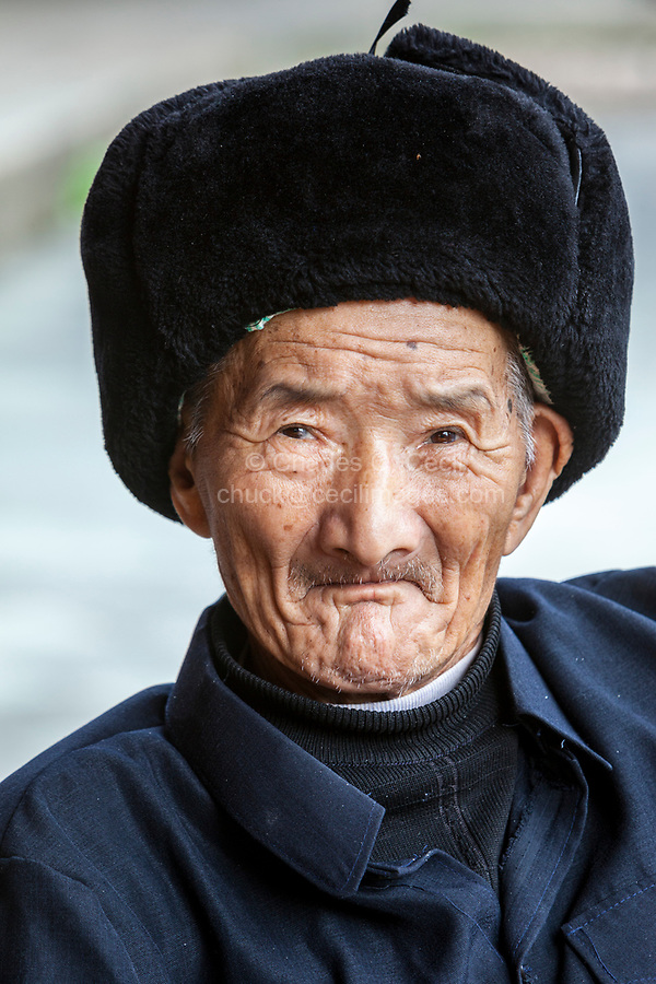 Linkeng, Zhejiang, China.  Elderly Man, a Village Resident.