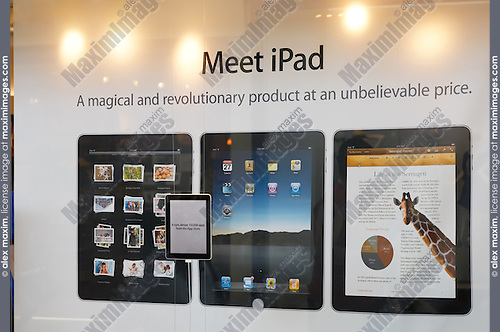 iPad ads on Apple store display on the first day of sale. Toronto, Ontario, Canada.