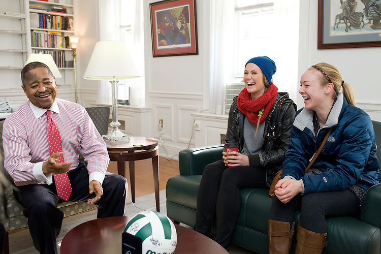 The Ohio University Volleyball team presents President McDavis with a signed volleyball in Athens, Ohio on Wednesday, December 11, 2013. Photo by Chris Franz