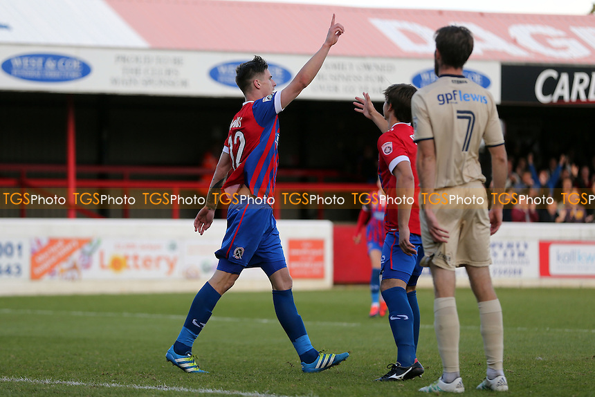 Oliver Hawkins of Dagenham celebrates scoring the second goal during Dagenham & Redbridge vs Wealdstone , Emirates FA Cup 4th Qualifying Round Football at the Chigwell Construction Stadium on 15th October 2016