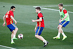 Spain's Pedro Rodriguez (l), Asier Illarramendi (c) and Nacho Monreal during training session. March 20,2017.(ALTERPHOTOS/Acero)