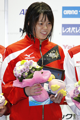 Natsumi Hoshi,<br /> APRIL 13, 2014 - Swimming : <br /> JAPAN SWIM 2014 <br /> Women's 100m Butterfly Vicrotry ceremony<br /> at Tatsumi International Swimming Pool, Tokyo, Japan. <br /> (Photo by AFLO SPORT)