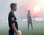 15.02.2020, Stadion an der Wuhlheide, Berlin, GER, 1.FBL, 1.FC UNION BERLIN  VS. Bayer Leverkusen, <br /> DFL  regulations prohibit any use of photographs as image sequences and/or quasi-video<br /> im Bild Leverkusener-Fanblock mit Pyro, Lars Bender (Bayer Leverkusen #8), Jonathan Tah (Bayer Leverkusen #4)<br /> <br />      <br /> Foto © nordphoto / Engler