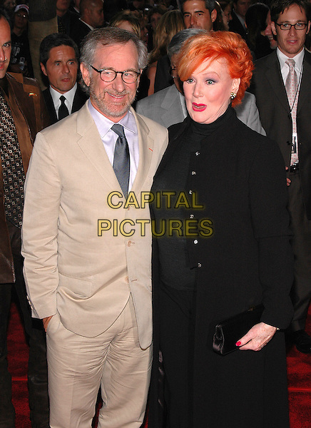 "STEVEN SPIELBERG & ANN ROBINSON.New York premiere of their new film, ""War Of The Worlds"" at the Ziegfeld Theater, New York, New York.June 23rd, 2005.Photo Credit: Patti Ouderkirk/AdMedia.half length cream beige suit .www.capitalpictures.com.sales@capitalpictures.com.© Capital Pictures."