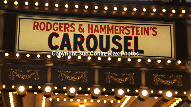 Marquee of Carousel with opening night being April 12, 2018 at the Imperial Theatre, New York City. (Photo by Sue Coflin/Max Photo)