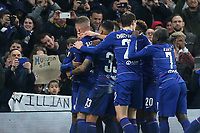 Ross Barkley celebrates scoring Chelsea's second goal in front of the home fans holding up banners for Callum Hudson Odoi and Willian during Chelsea vs Malmo FF, UEFA Europa League Football at Stamford Bridge on 21st February 2019