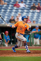 St. Lucie Mets right fielder Quinn Brodey (12) follows through on a swing during a game against the Clearwater Threshers on August 11, 2018 at Spectrum Field in Clearwater, Florida.  St. Lucie defeated Clearwater 11-0.  (Mike Janes/Four Seam Images)