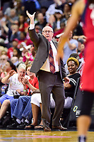 Washington, DC - June 15, 2018: Mystics head coach Mike Thibault calls out a play during game between the Washington Mystics and Los Angeles Sparks at the Capital One Arena in Washington, DC. (Photo by Phil Peters/Media Images International)