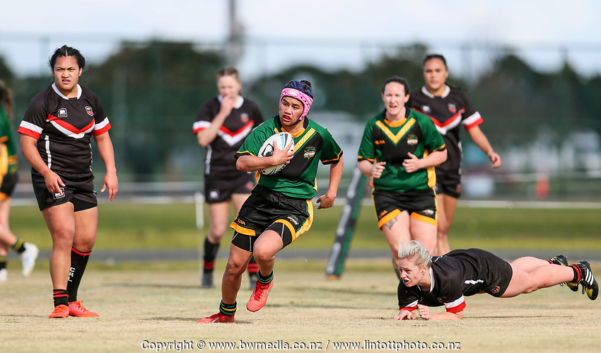 Action from the match between the Mid-Central Vikings and Canterbury, during the 2019 NZRL National Women's Rugby League Tournament at Bruce Pullman Park in Auckland, New Zealand on Friday, 26 July 2019. Photo: Simon Watts / www.bwmedia.co.nz