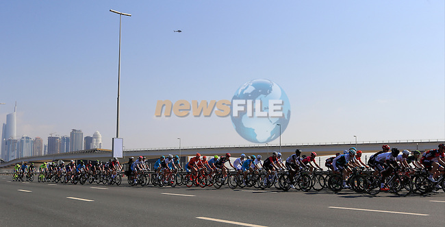 Sheikh Zayed Road and the start of Stage 2, the Nakheel Stage, of the 2016 Dubai Tour starting at the Dubai International Marine Club and running 188km to Palm Jumeirah Atlantis, Dubai, United Arab Emirates. 4th February 2016.<br /> Picture: Eoin Clarke | Newsfile<br /> <br /> <br /> All photos usage must carry mandatory copyright credit (&copy; Newsfile | Eoin Clarke)