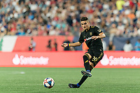 FOXBOROUGH, MA - AUGUST 4: Eduard Atuesta #20 of Los Angeles FC passes the ball during a game between Los Angeles FC and New England Revolution at Gillette Stadium on August 3, 2019 in Foxborough, Massachusetts.