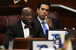 Nevada Senate Democrats Kelvin Atkinson, left, and Ruben Kihuen work in a Committee of the Whole hearing during a special session at the Legislative Building in Carson City, Nev., on Thursday, Dec. 17, 2015. Lawmakers continue to hear details of a bill that would give Faraday Future hundreds of millions of dollars in tax credits and abatements. Cathleen Allison/Las Vegas Review-Journal