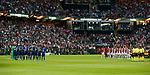 Manchester United and Ajax hold a minutes silence in recognition of those who have suffered at the hands of Terrorists in Manchester during the UEFA Europa League Final match at the Friends Arena, Stockholm. Picture date: May 24th, 2017.Picture credit should read: Matt McNulty/Sportimage