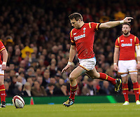 Dan Biggar of Wales scores with a kick during the Wales v France, 2016 RBS 6 Nations Championship, at the Principality Stadium, Cardiff, Wales, UK