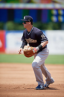 Scranton/Wilkes-Barre RailRiders first baseman Tyler Austin (26) during a game against the Syracuse Chiefs on June 17, 2018 at NBT Bank Stadium in Syracuse, New York.  Syracuse defeated Scranton/Wilkes-Barre 4-2.  (Mike Janes/Four Seam Images)