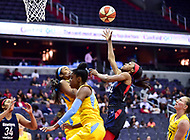 Washington, DC - June 15, 2018: Washington Mystics guard Shatori Walker-Kimbrough (32) goes up for a lay up during game between the Washington Mystics and Chicago Sky at the Capital One Arena in Washington, DC. (Photo by Phil Peters/Media Images International)