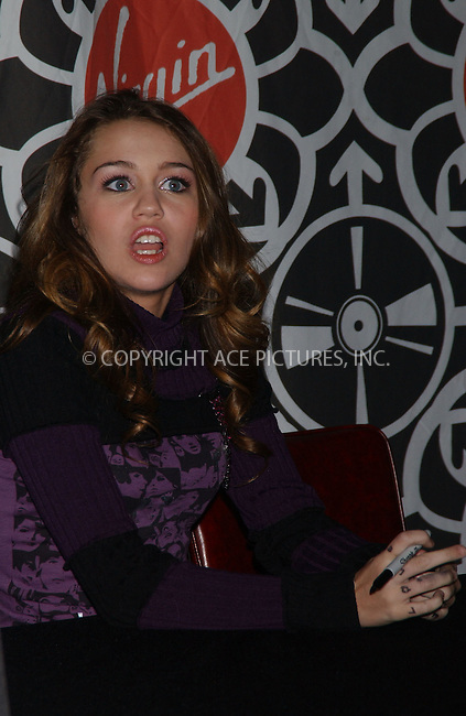 WWW.ACEPIXS.COM . . . . . ....October 24, 2006, New York City. ....Miley Cyrus Signing for Hannah Montana Soundtrack at Virgin Megastore in Times Square. ....Please byline: KRISTIN CALLAHAN - ACEPIXS.COM.. . . . . . ..Ace Pictures, Inc:  ..(212) 243-8787 or (646) 769 0430..e-mail: info@acepixs.com..web: http://www.acepixs.com