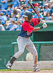 8 July 2014: Lowell Spinners infielder Raymel Flores in action against the Vermont Lake Monsters at Centennial Field in Burlington, Vermont. The Lake Monsters rallied in the 9th inning to defeat the Spinners 5-4 in NY Penn League action. Mandatory Credit: Ed Wolfstein Photo *** RAW Image File Available ****