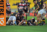 Sikeli Nabou scores during the Mitre 10 Cup rugby match between Wellington Lions and Counties Manukau Steelers at Westpac Stadium in Wellington, New Zealand on Wednesday, 29 August 2019. Photo: Dave Lintott / lintottphoto.co.nz