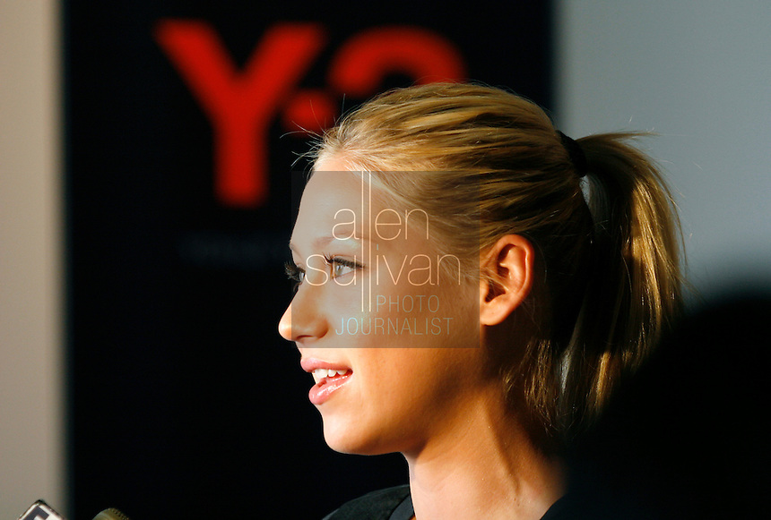Tennis star Anna Kournikova is interviewed during an appearance at the Y-3 store in The Shops Around Lenox in Atlanta, Ga. on Friday afternoon, May 5, 2006. She was in town for the USTA Mercedes Benz Classic at the Arena at Gwinnett Center.