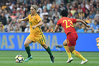 26 November 2017, Melbourne - KATRINA GORRY (19) of Australia runs with the ball during an international friendly match between the Australian Matildas and China PR at GMHBA Stadium in Geelong, Australia.. Australia won 5-1. Photo Sydney Low