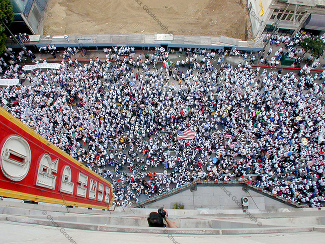 Photo shows the mass of people marching in the immigration rally that took place on Brodayway St. March 25th 2006 in Los Angeles, California against proposition HR4437. This Photo was taken from the 9th floor of the Orpheum Theater bldg. between 8th and 9th st. No property Release. Editorial use only.