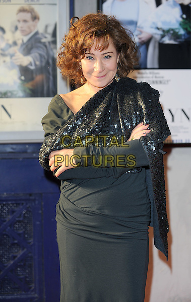 "Zoe Wanamaker.The ""My Week With Marilyn"" UK premiere, Cineworld Cinemas, Haymarket, London, England..November 20th, 2011.half arms crossed length black dress sequins sequined wrap cape.CAP/BEL.©Tom Belcher/Capital Pictures."