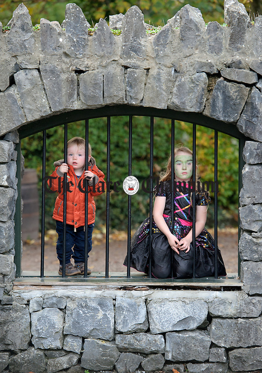 Jack and Becky Dunne take a break during the Hallowe'en event at Bunratty Castle and Folk Park. Photograph by John Kelly.