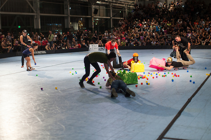 "During half-time of the Berkeley Resistance and Oakland Outlaws league championship bout at the Craneway Pavilion in Richmond, contestants played ""Hungry Hungry Human."" Berkeley won their first league title 161-143."