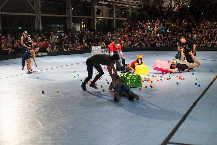 """During half-time of the Berkeley Resistance and Oakland Outlaws league championship bout at the Craneway Pavilion in Richmond, contestants played """"Hungry Hungry Human."""" Berkeley won their first league title 161-143."""