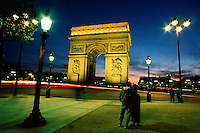 L'Arc de Triomphe at dusk. Paris, France.