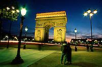 L'Arc de Triomphe at dusk. Paris, France.
