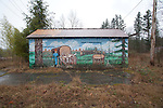 Road Trip, US 2, March, 2013, Logging mural outlasts the forests, Monroe, Washington State,