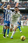 Real Madrid´s Isco and Deportivo de la Coruna's Laureano Sanabria Ruiz during 2014-15 La Liga match between Real Madrid and Deportivo de la Coruna at Santiago Bernabeu stadium in Madrid, Spain. February 14, 2015. (ALTERPHOTOS/Luis Fernandez)
