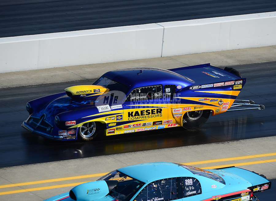 Apr. 14, 2012; Concord, NC, USA: NHRA top sportsman driver Jeff Brooks during qualifying for the Four Wide Nationals at zMax Dragway. Mandatory Credit: Mark J. Rebilas-