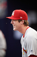 Palm Beach Cardinals pitcher Jake Woodford (33) in the dugout during a game against the Charlotte Stone Crabs on April 11, 2017 at Charlotte Sports Park in Port Charlotte, Florida.  Palm Beach defeated Charlotte 12-6.  (Mike Janes/Four Seam Images)