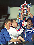Richard Gough, Andy Goram and David Robertson lift the Scottish Cup, 1996