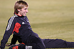 24 March 2004: Bobby Convey of DC United stretches before the game. DC United of Major League Soccer defeated the Wilmington Hammerheads of the Pro Select League 1-0 at the Legion Sports Complex in Wilmington, NC in a Carolina Challenge Cup match..