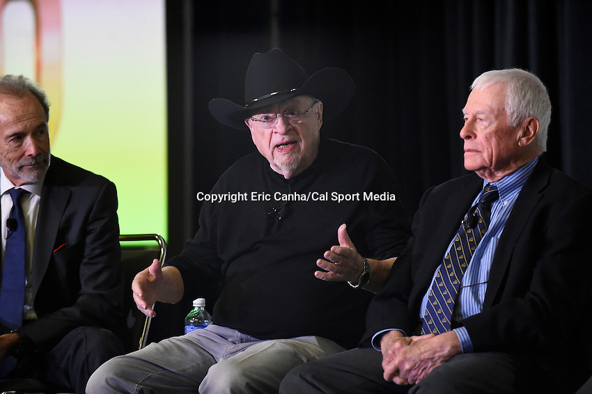 Friday, February 5, 2016: Writer Jerry Green tells a story during a round table discussion at the Moscone Center in San Francisco, California during the National Football League week long opening celebrations for Super Bowl 50 between the Carolina Panthers and the Denver Broncos . Eric Canha/CSM