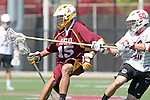 Orange, CA 05/02/10 - Ryan Westfall (ASU # 15) and Matt Walrath (Chapman # 50) in action during the Chapman-Arizona State MCLA SLC Division I final at Wilson Field on Chapman University's campus.  Arizona State defeated Chapman 13-12 in overtime.