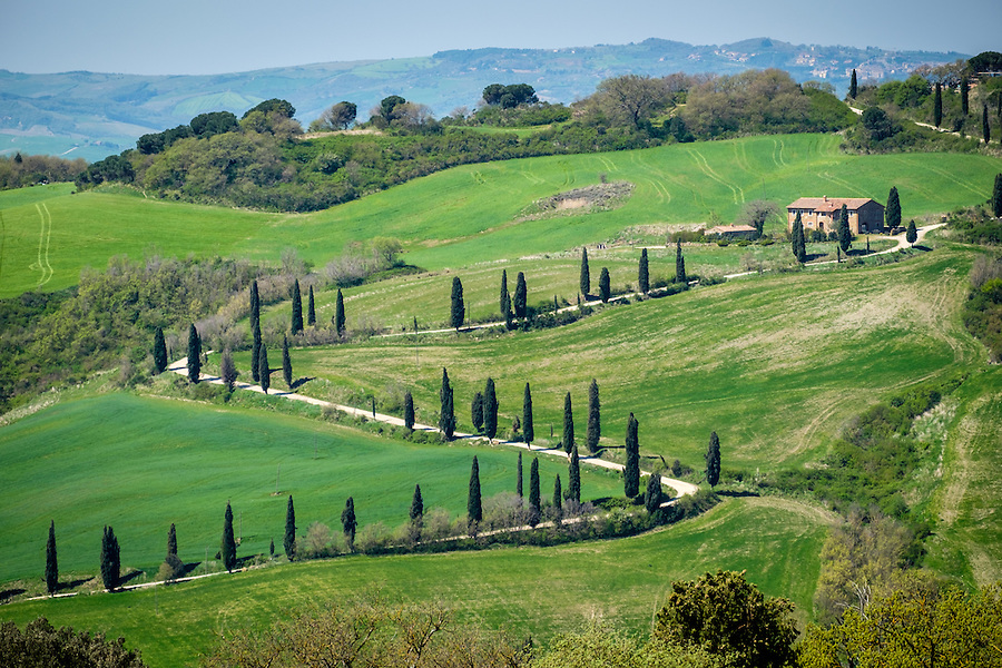 MONTEPULCIANO, ITALY - CIRCA MAY 2015:  House over the hills in Montepulciano in Tuscany