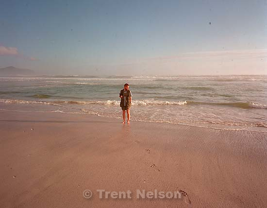 Trent Nelson at the beach (photo by Peggy Fletcher Stack).<br />