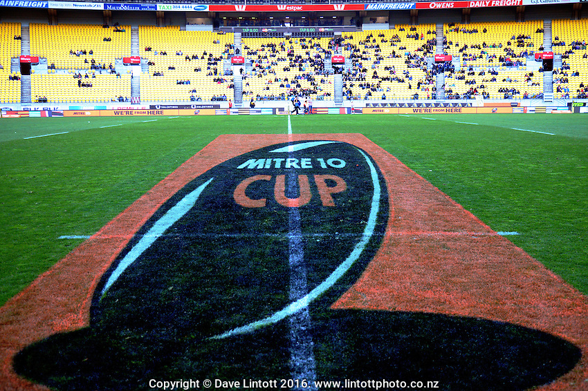 A general view from the pitch before the Mitre 10 Cup rugby union match between Wellington Lions and North Harbour at Westpac Stadium, Wellington, New Zealand on Saturday, 3 September 2016. Photo: Dave Lintott / lintottphoto.co.nz