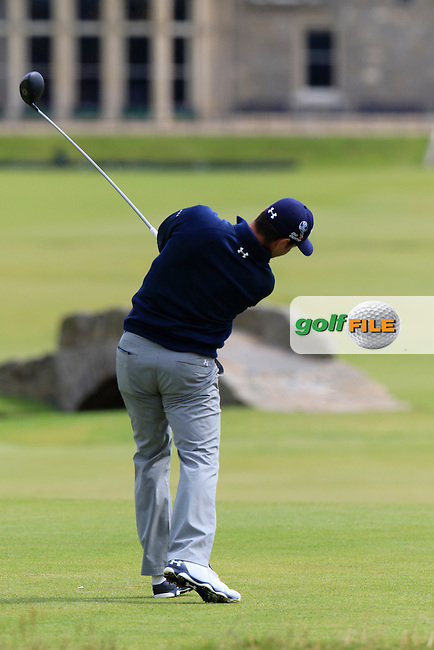 Gary WOODLAND (USA) tees off the 18th tee during Monday's Final Round of the 144th Open Championship, St Andrews Old Course, St Andrews, Fife, Scotland. 20/07/2015.<br /> Picture Eoin Clarke, www.golffile.ie