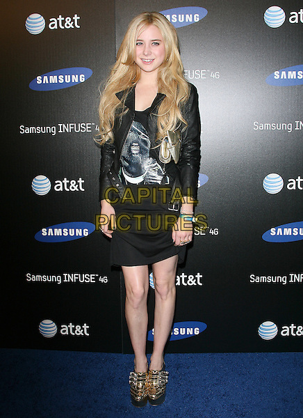 ALESSANDRA TORRESANI.The Samsung Infuse 4G Launch Event  held at Milk Studios in Hollywood, California, USA..May 12th, 2011.full length skirt print top black jacket  gold metallic print shoes silver .CAP/RKE/DVS.©DVS/RockinExposures/Capital Pictures.